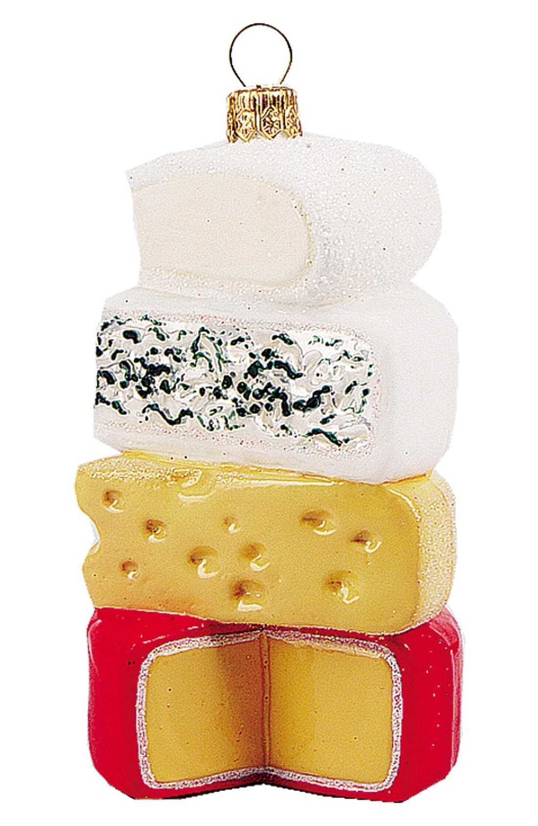 'Cheese Stack' Handblown Glass Ornament,                             Main thumbnail 1, color,                             Red Multi