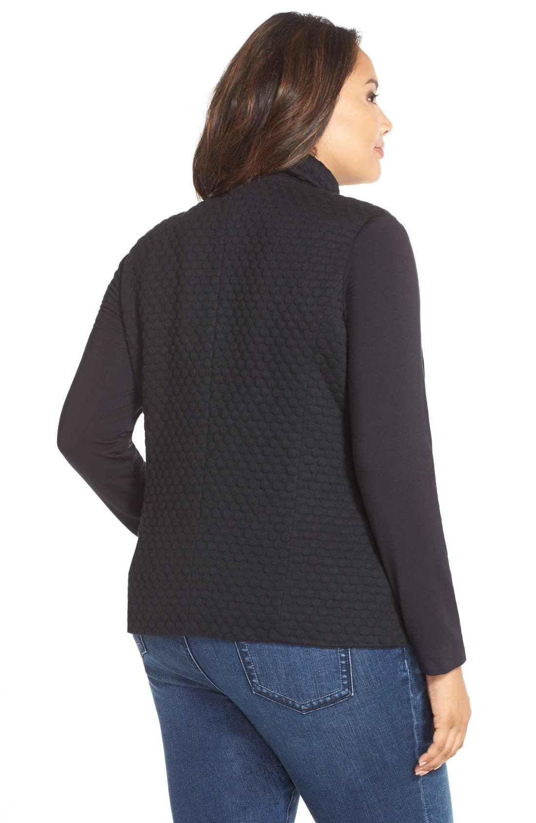 'Bridgette' Textured KnitJacket,                             Alternate thumbnail 2, color,                             Black Bubble