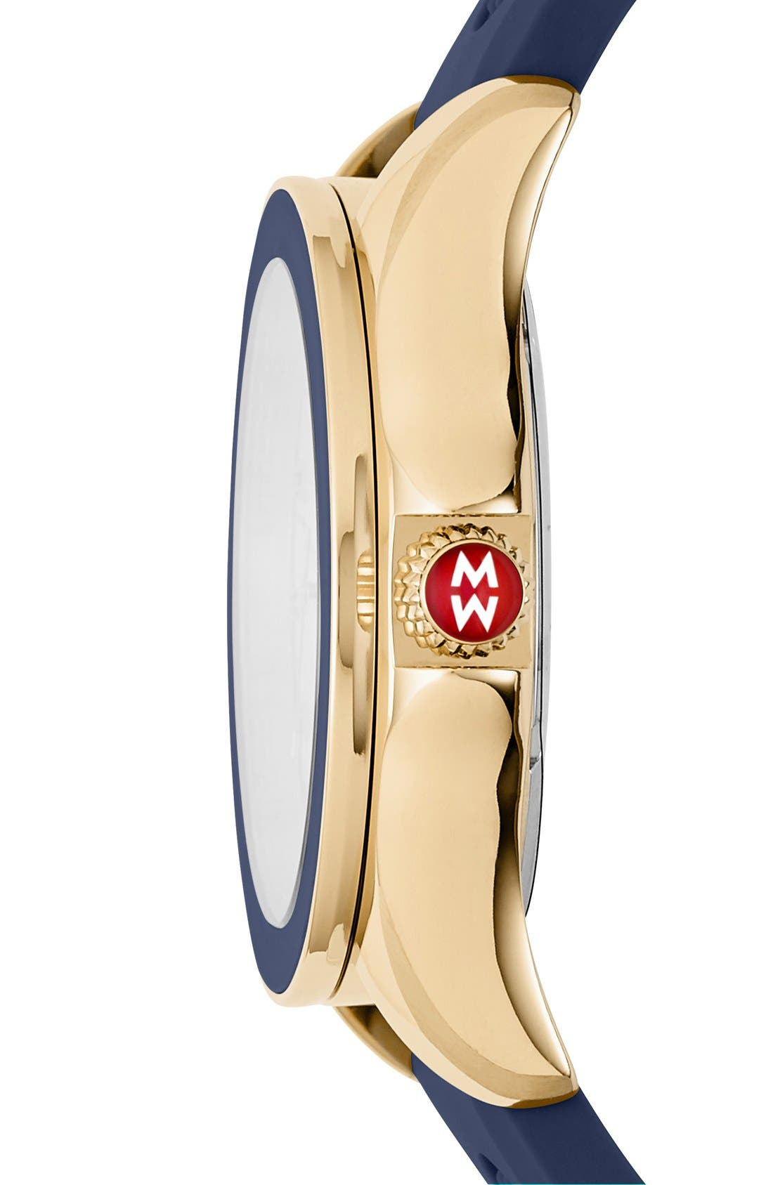 Cape Topaz Dial Silicone Strap Watch, 40mm,                             Alternate thumbnail 2, color,                             Navy/ Gold