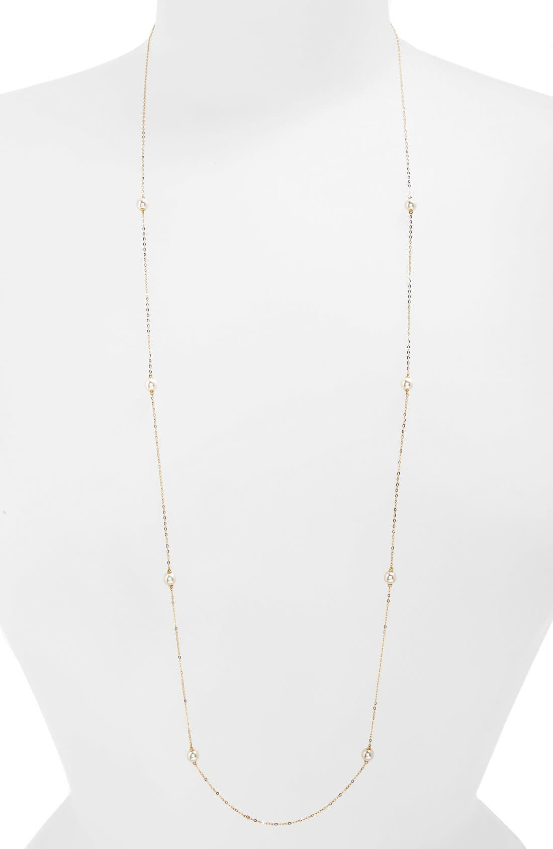 Nadri Long Faux Pearl Station Necklace