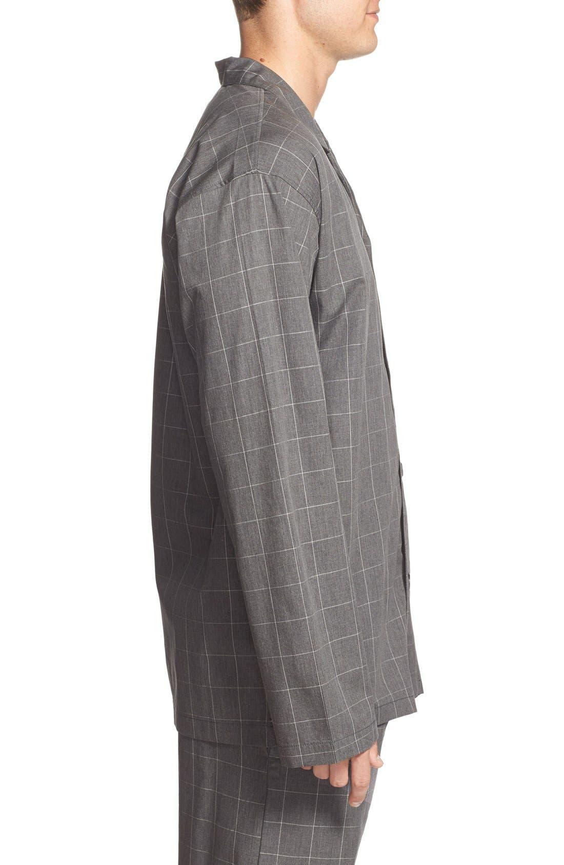 Woven Pajama Top,                             Alternate thumbnail 3, color,                             Charcoal
