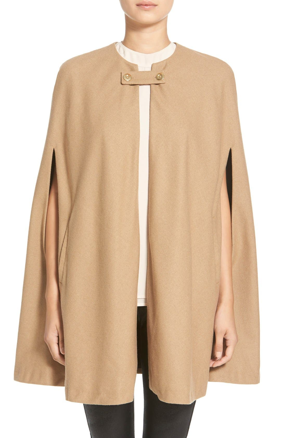 Collarless Woven Cape,                             Main thumbnail 1, color,                             Beige