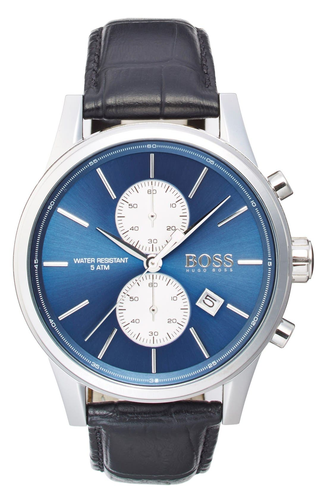 BOSS 'Jet Sport' Chronograph Leather Strap Watch, 41mm,                             Main thumbnail 1, color,                             Blue/ Black