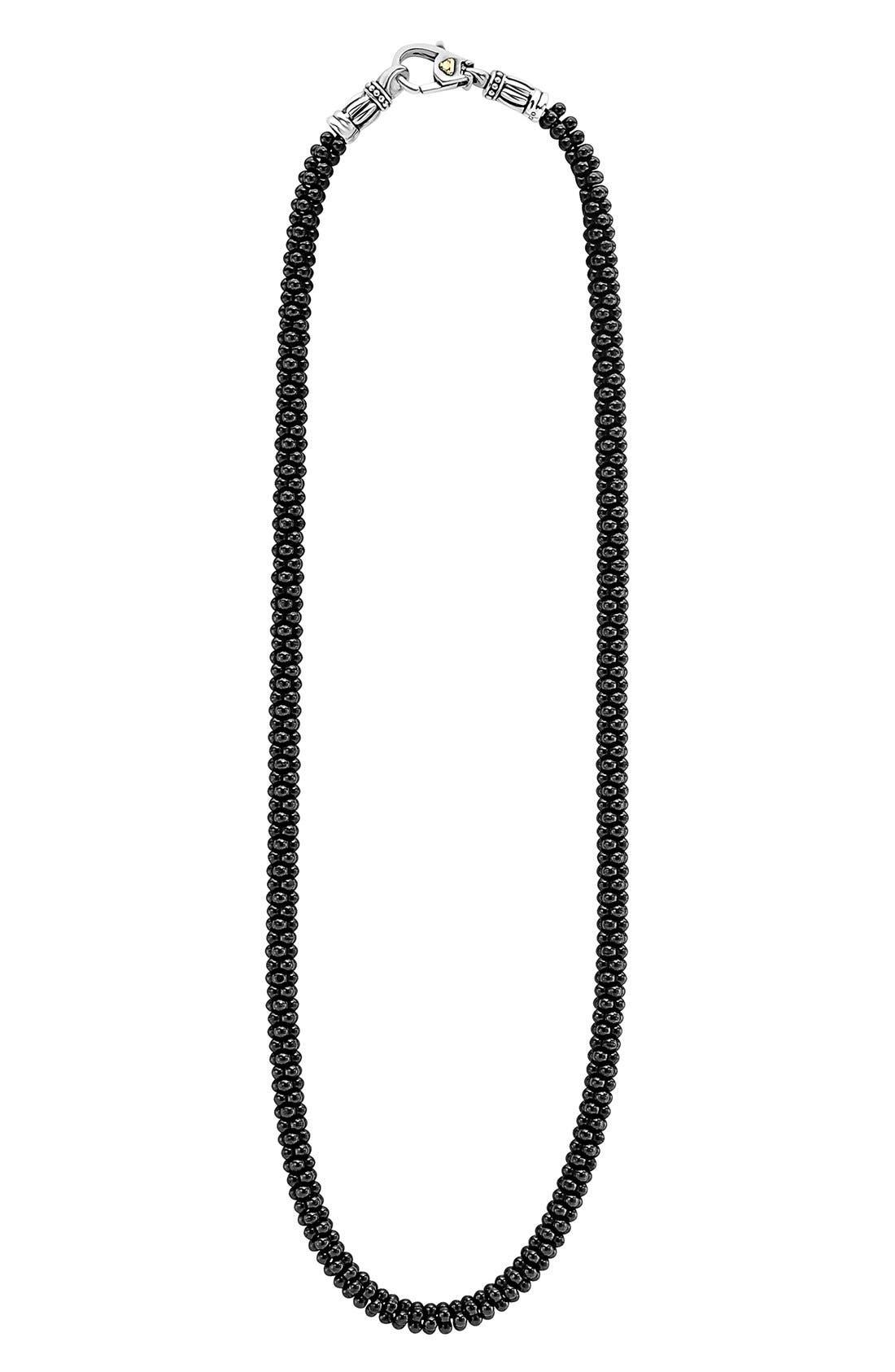 'Black Caviar' 5mm Beaded Necklace,                         Main,                         color, Black Caviar