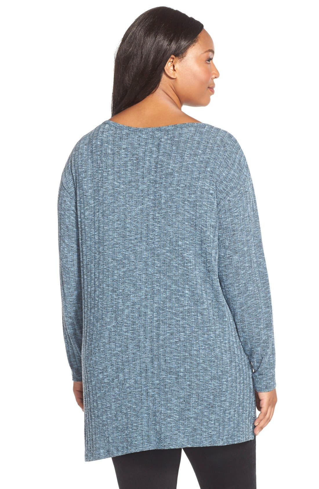 Asymmetrical Slub Knit Tunic,                             Alternate thumbnail 2, color,                             Blue Black Slub Rib Pattern