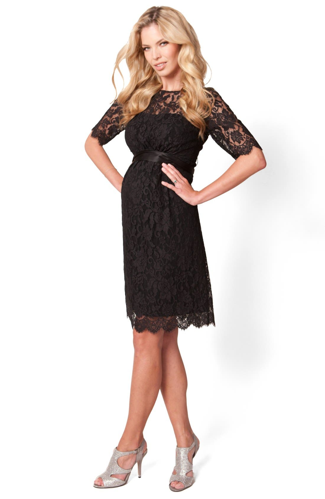 'Ingrid Luxe' Lace Maternity Dress,                             Main thumbnail 1, color,                             Black