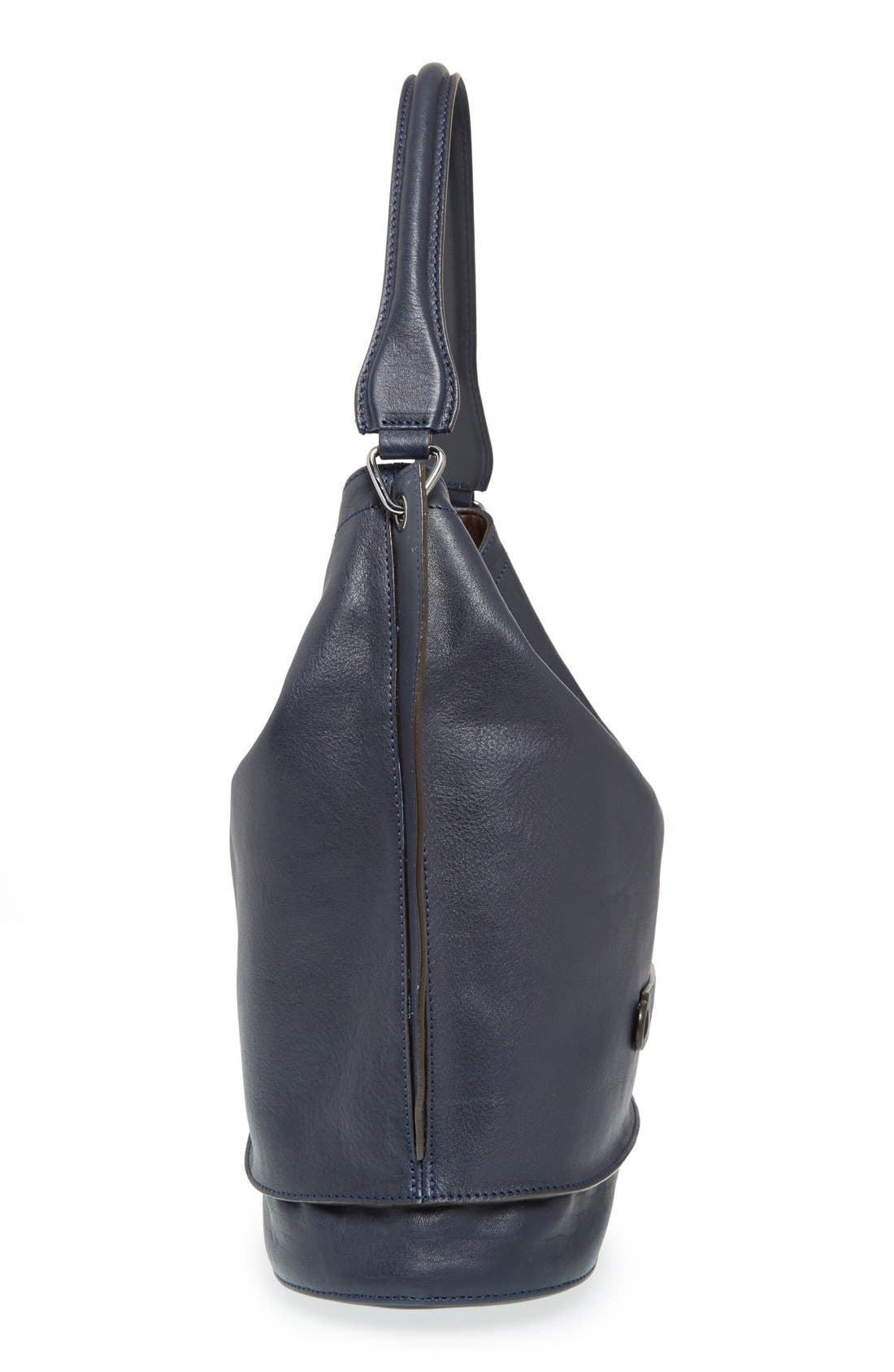'3D' Leather Hobo,                             Alternate thumbnail 5, color,                             Midnight