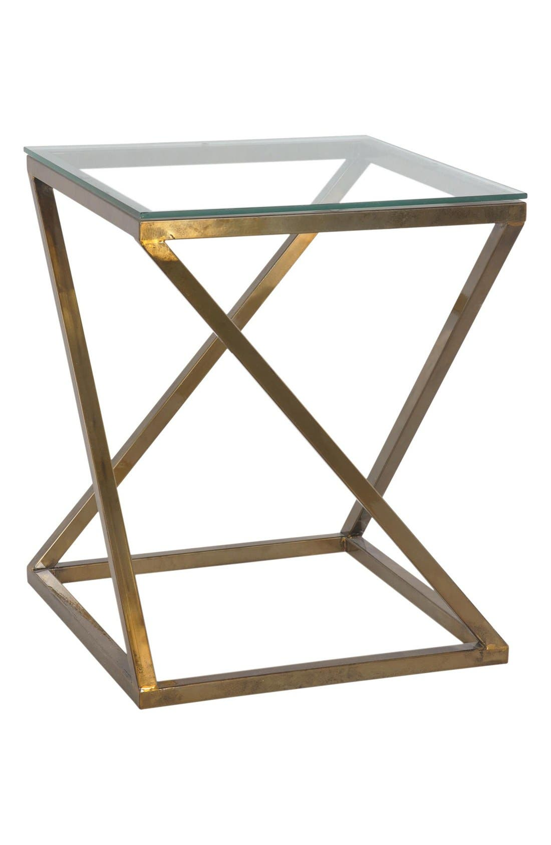 'Penrose' Glass TopAccent Table,                             Main thumbnail 1, color,                             Gold