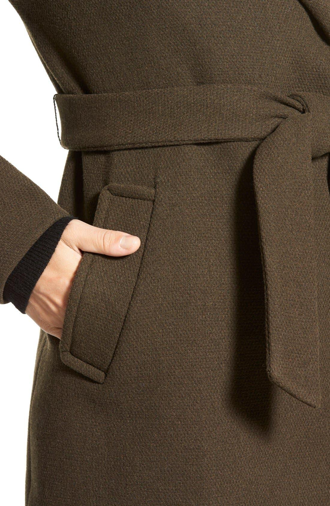 Alternate Image 4  - Calvin Klein Hooded Wool Blend Wrap Coat