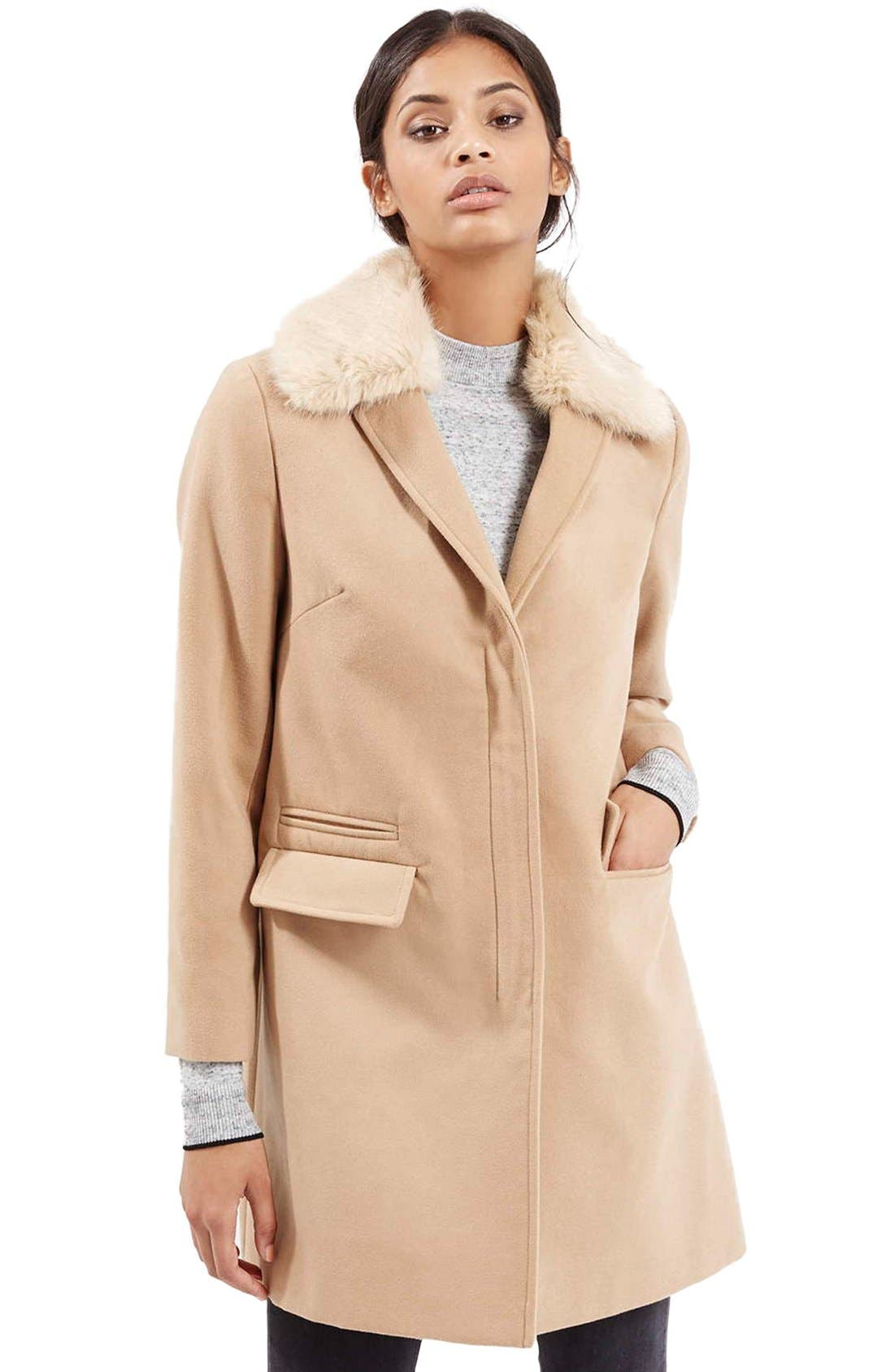 'Mia' Faux Fur Collar Slim Fit Coat,                             Main thumbnail 1, color,                             Camel