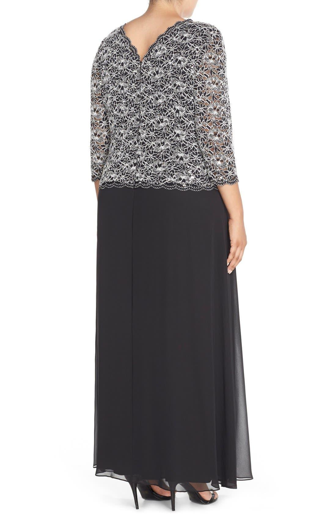 Mock Two-Piece Lace & Chiffon A-Line Gown,                             Alternate thumbnail 2, color,                             Black/ White