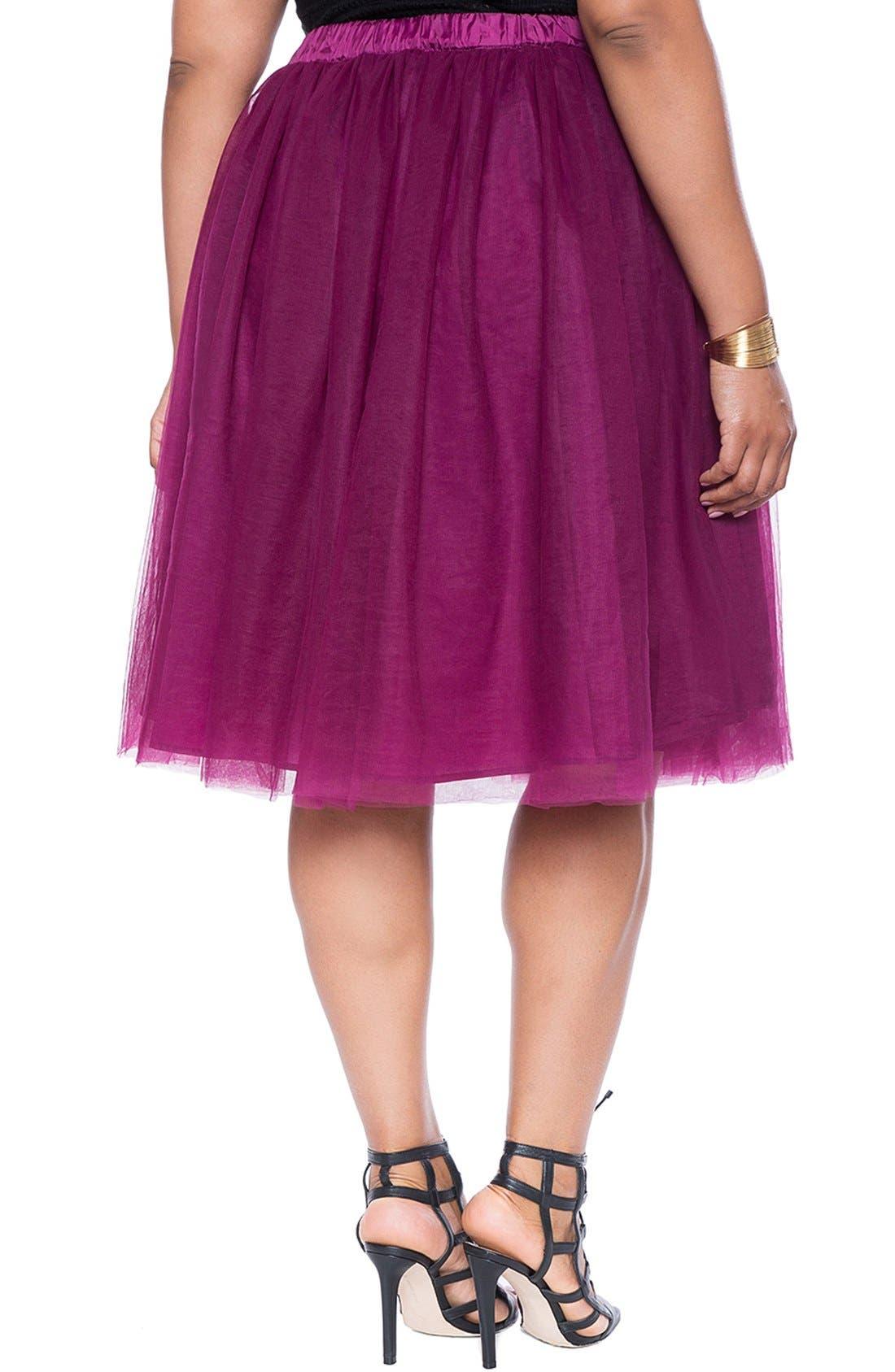 Alternate Image 2  - ELOQUIITulle Midi Skirt (Plus Size)