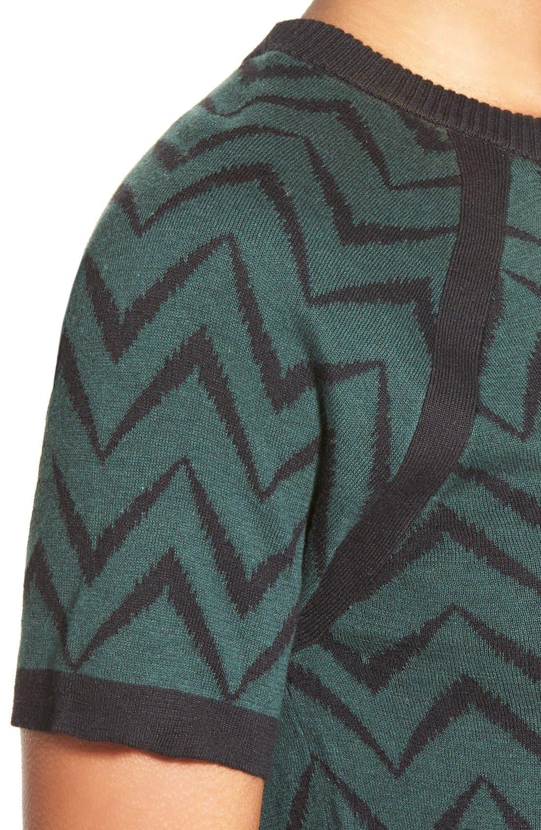 Alternate Image 4  - Anne Klein Chevron Stripe Crewneck Sweater