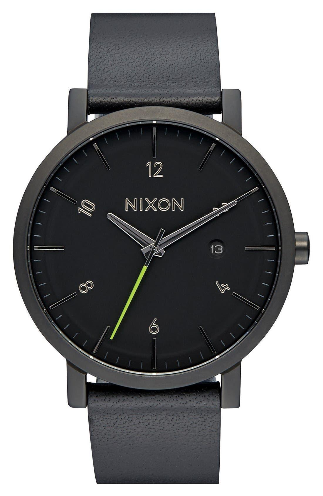 Nixon 'Rollo' Leather Strap Watch, 42mm