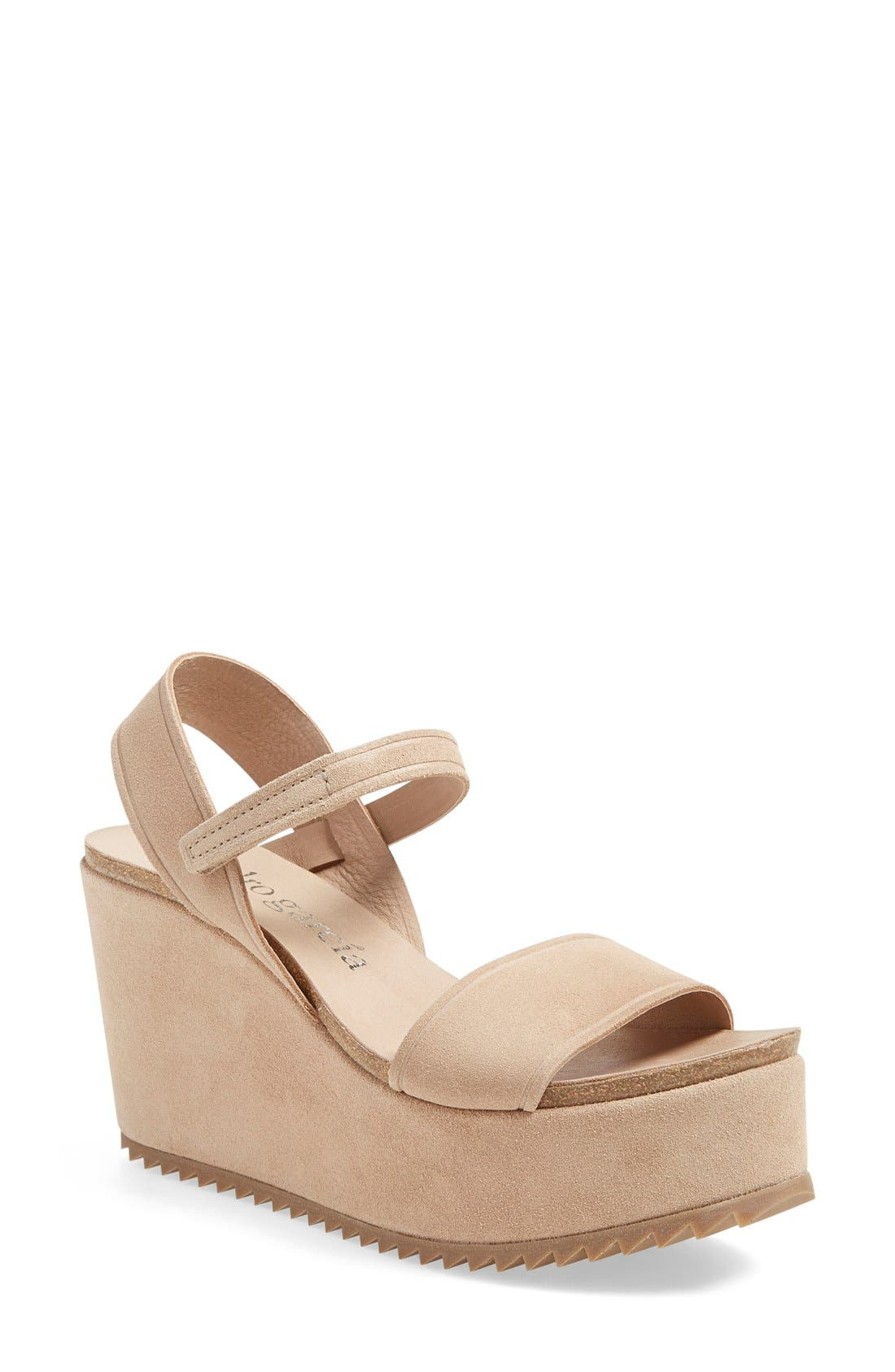 'Dorothy' Wedge,                             Main thumbnail 1, color,                             Light Camel Suede