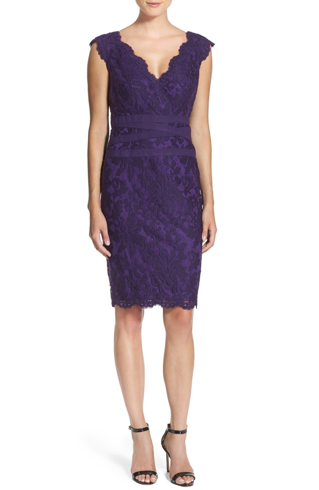 Alternate Image 4  - Tadashi Shoji Embroidered Lace Sheath Dress (Regular & Petite)