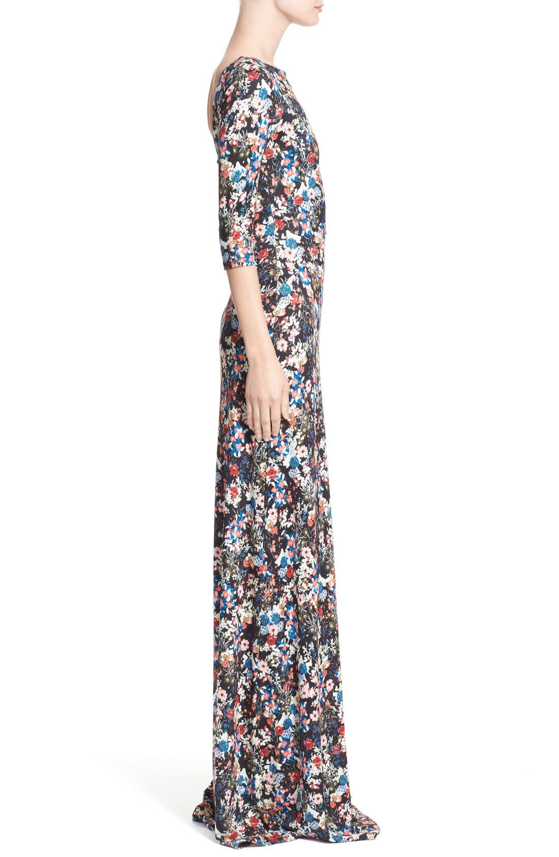 'Valentina' Floral Print JerseyGown,                             Alternate thumbnail 5, color,                             Pink/ Multi