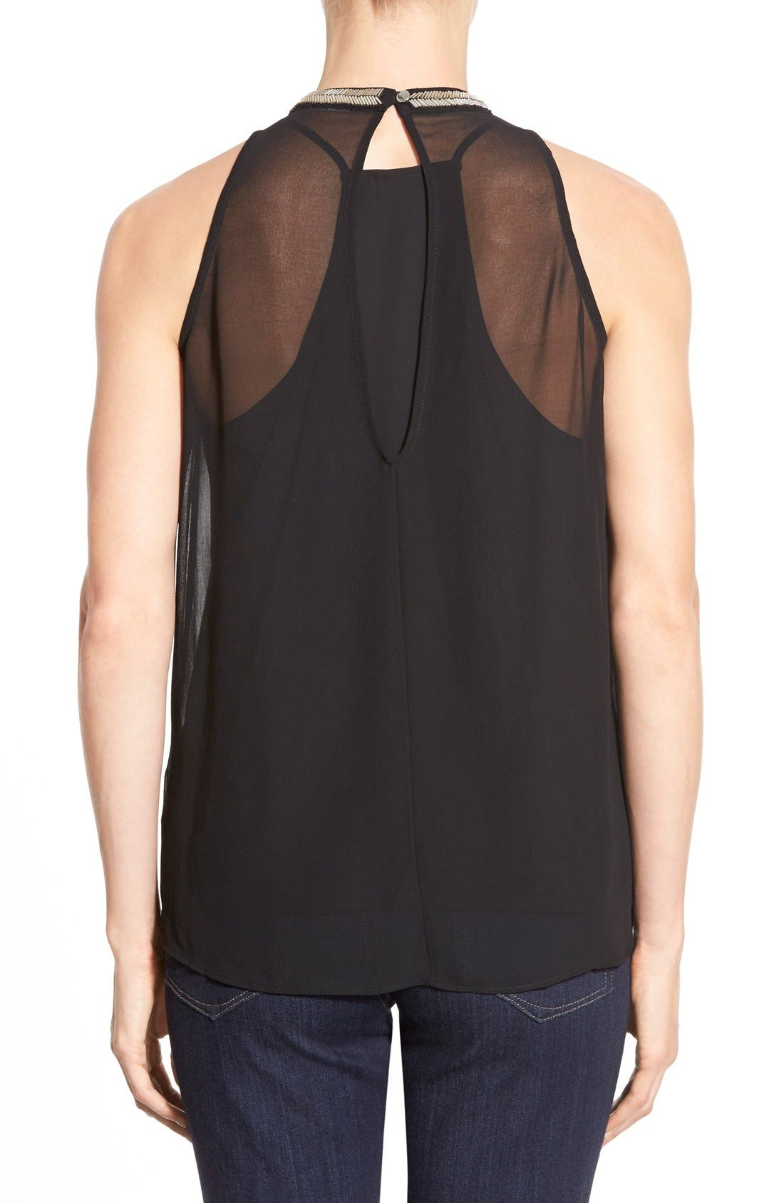 Alternate Image 2  - DKNYC Embellished Fringe Sleeveless Chiffon Top