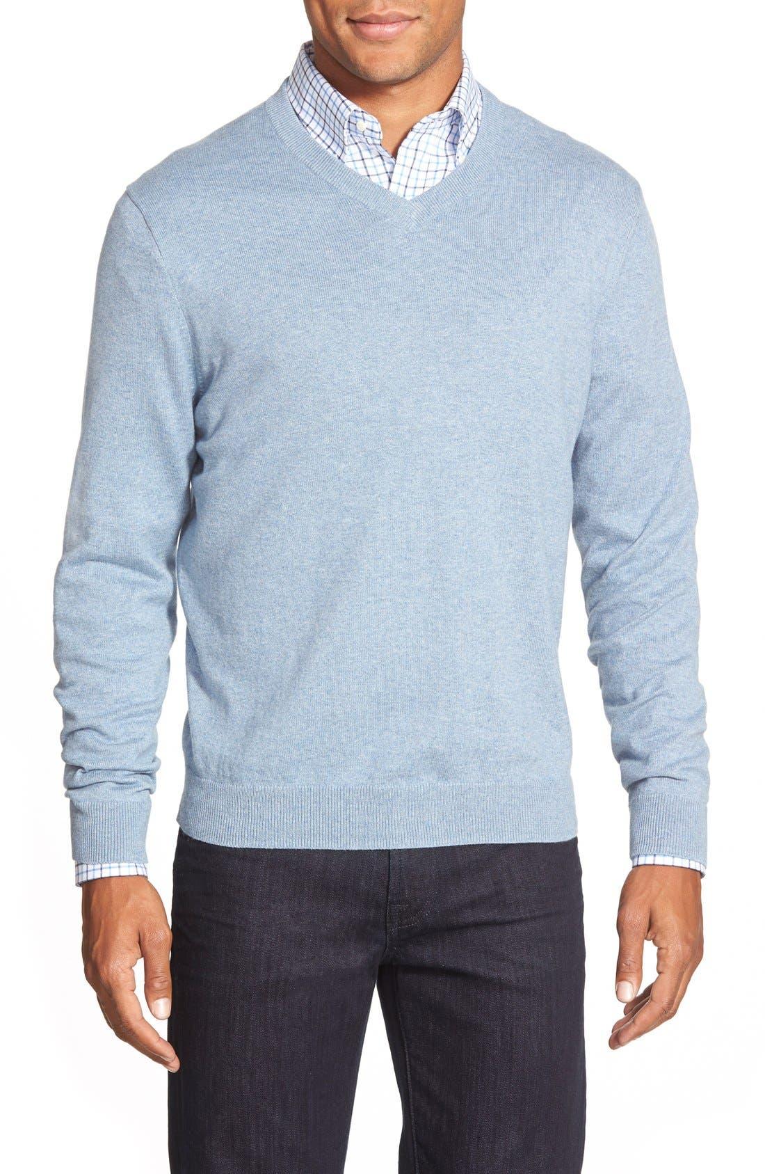 Cotton & Cashmere V-Neck Sweater,                             Main thumbnail 1, color,                             Blue Celestial Heather