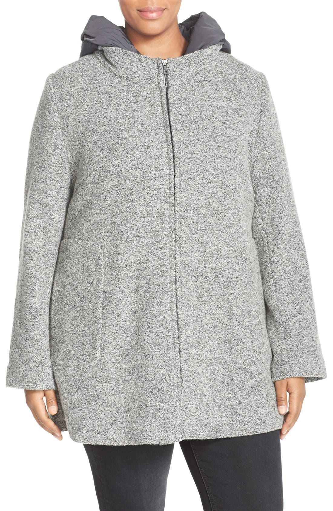 Kristen Blake Hooded Boiled Wool Blend Swing Coat (Plus Size)