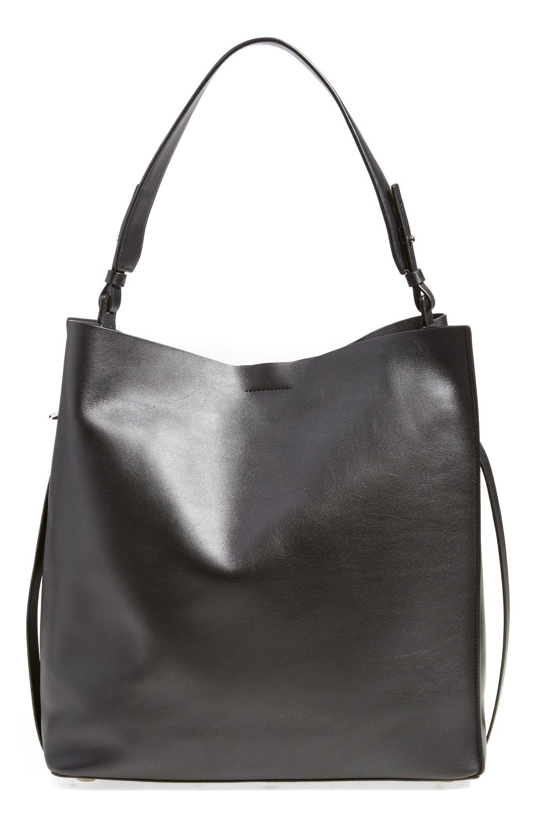 ALLSAINTS 'Paradise North/South' Calfskin Leather Tote - Black in Black/ Black
