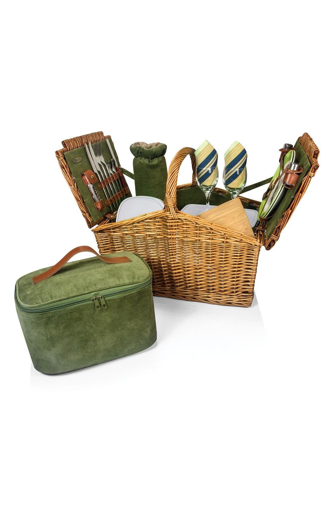 'Somerset' Wicker Picnic Basket,                             Main thumbnail 1, color,                             Green
