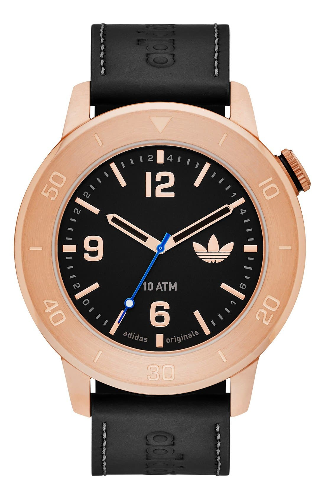 Main Image - adidas Originals 'Manchester' Leather Strap Watch, 46mm