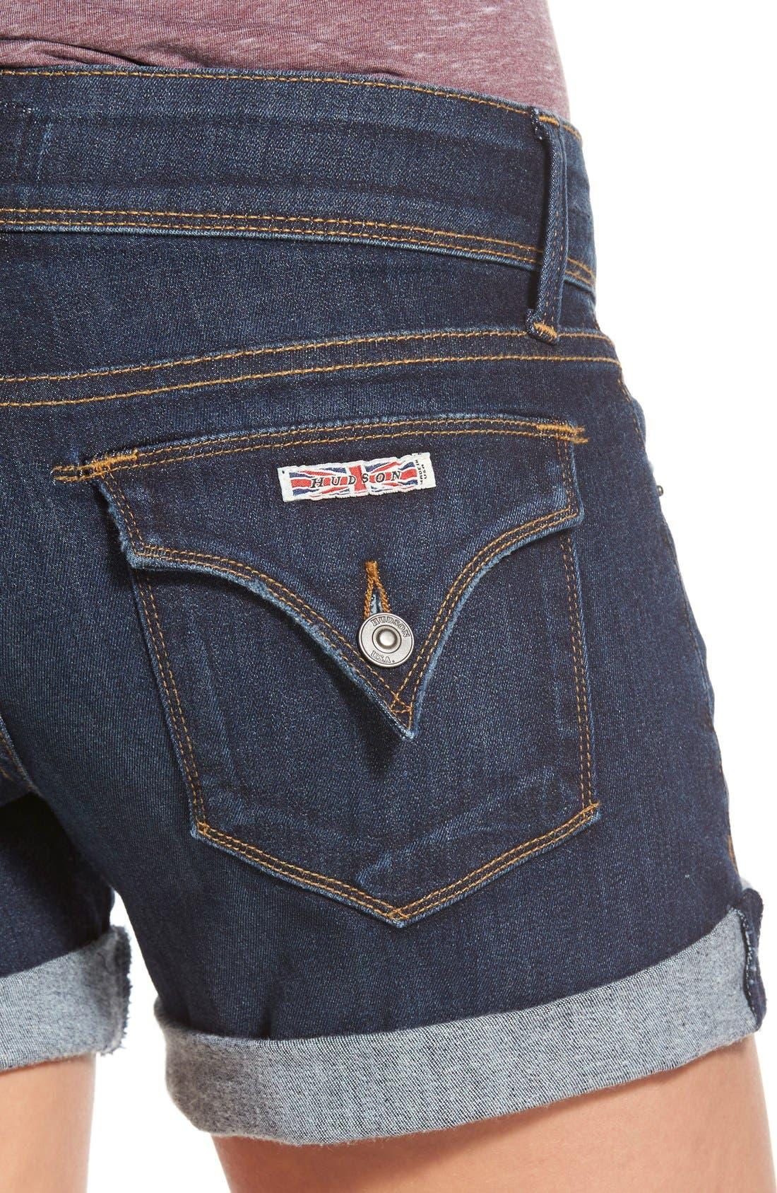 'Croxley' Cuffed Denim Shorts,                             Alternate thumbnail 4, color,                             Elemental