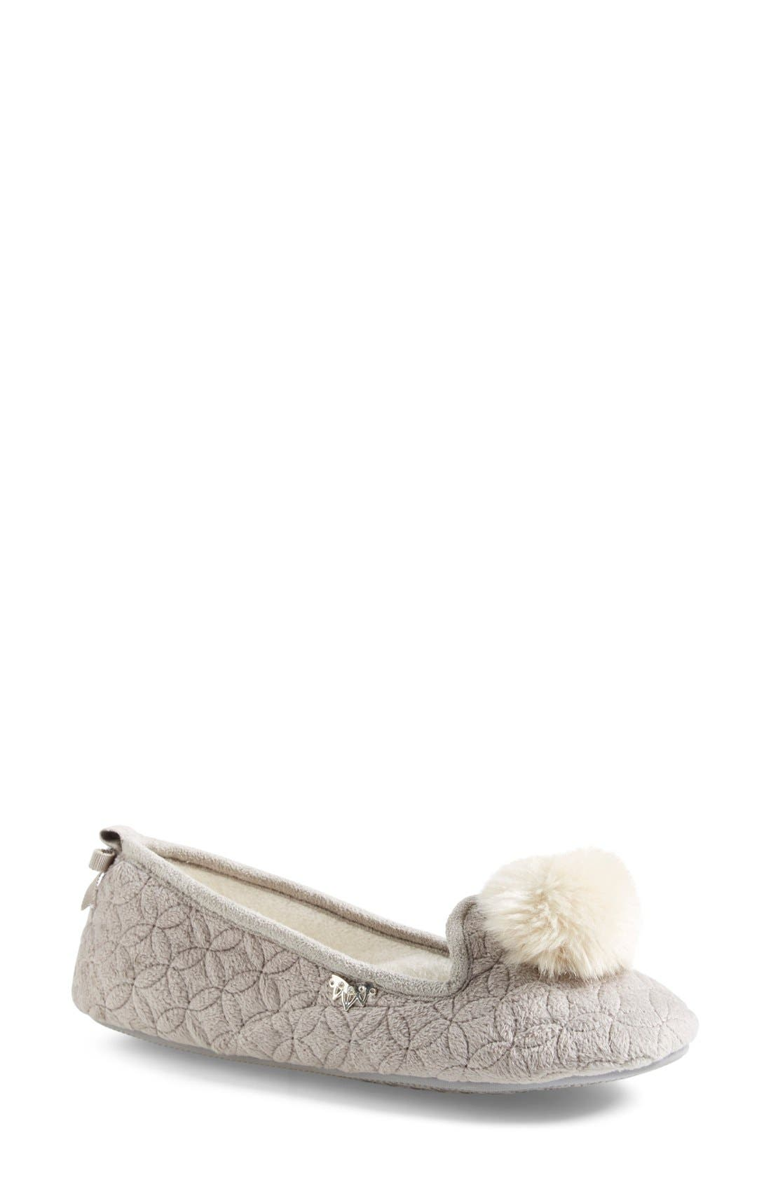Main Image - Pretty You London 'Opera' Quilted Faux Fur Pompom Slipper