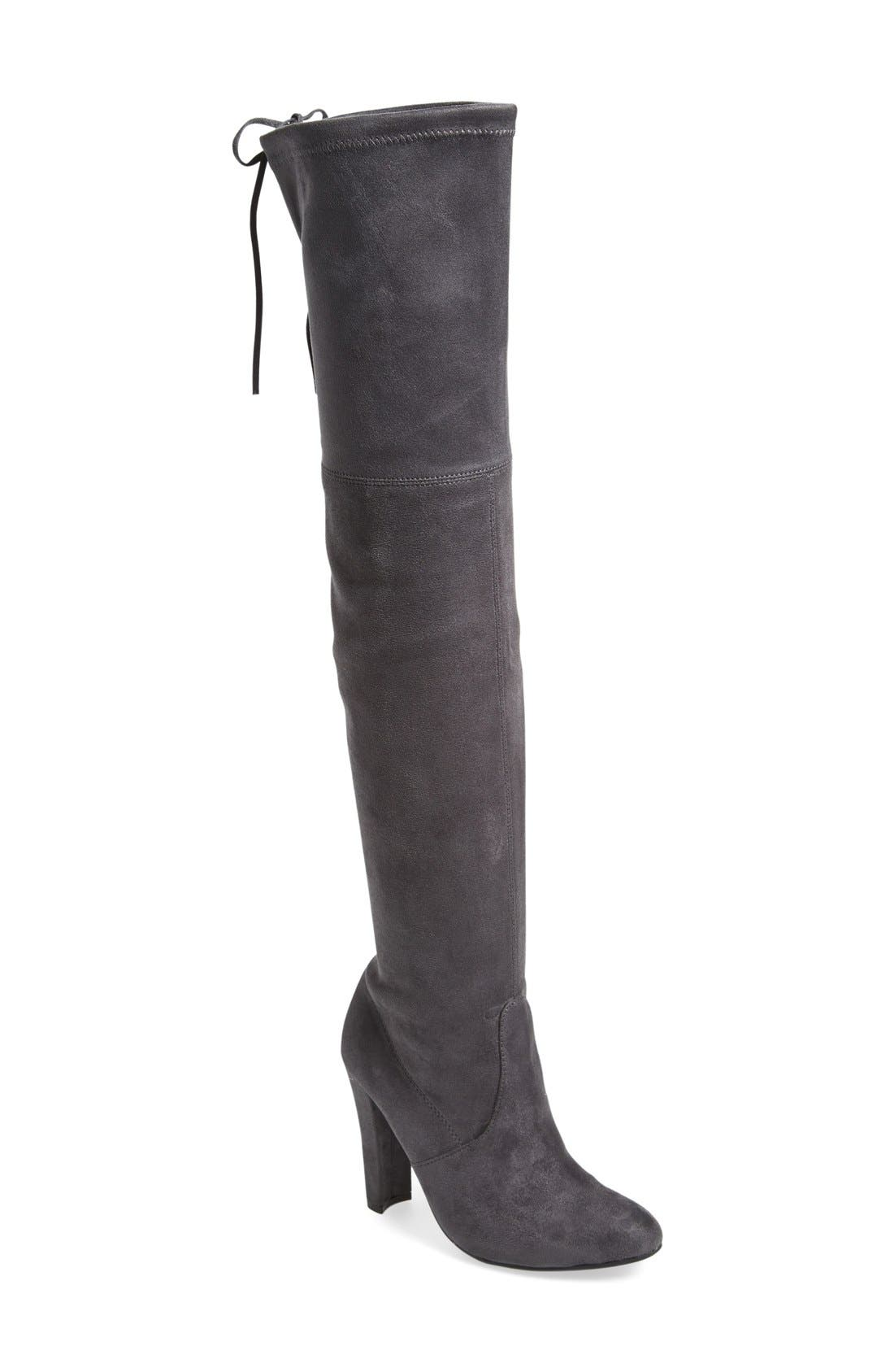 'Gorgeous' Over the Knee Boot,                             Main thumbnail 1, color,                             Grey