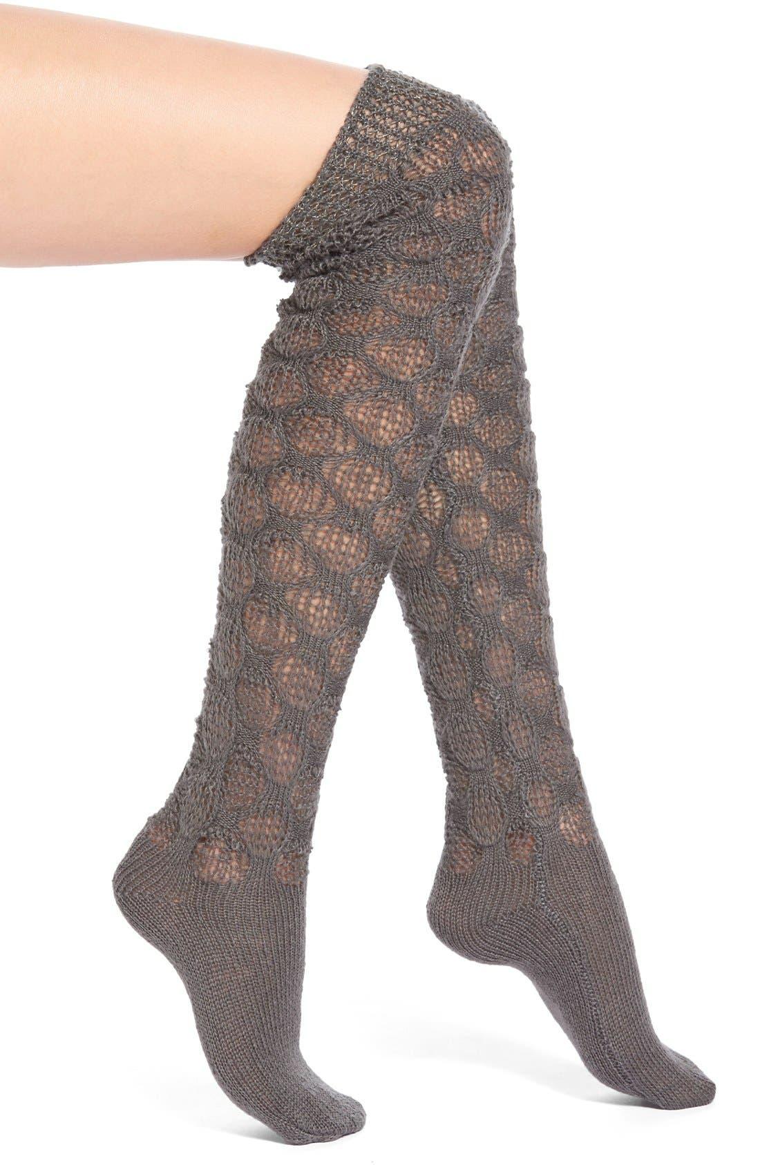 'Frosted' Crochet Over the Knee Socks,                             Main thumbnail 1, color,                             Peppercorn