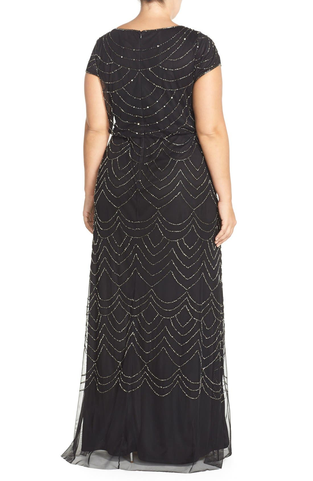 Beaded Blouson Gown,                             Alternate thumbnail 2, color,                             Black