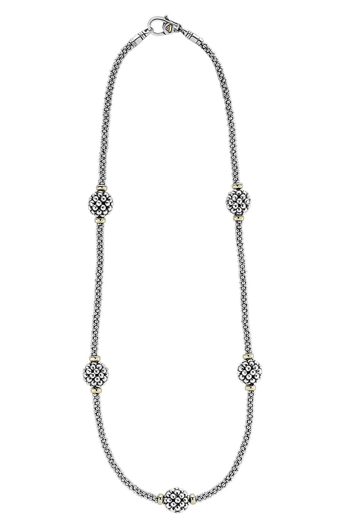 'Caviar Forever' Station Rope Necklace,                             Main thumbnail 1, color,                             Silver/ Gold