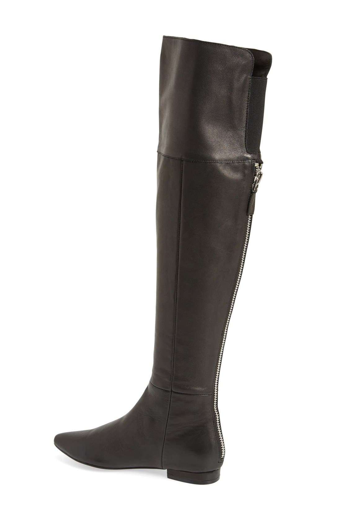 'York' Over the Knee Boot,                             Alternate thumbnail 2, color,                             Black Leather