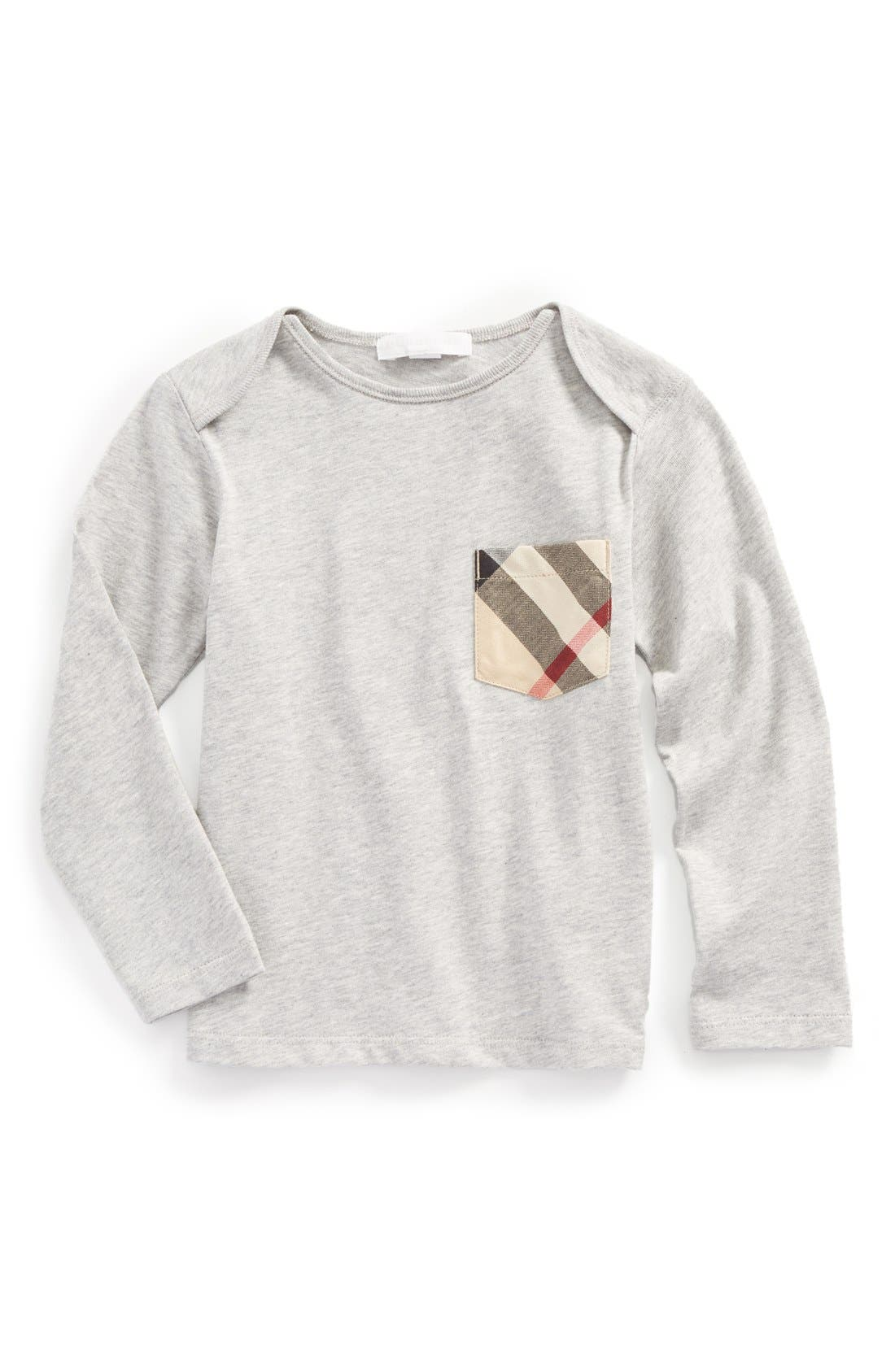 Burberry 'Callum' Check Print Chest Pocket T-Shirt (Toddler Boys)