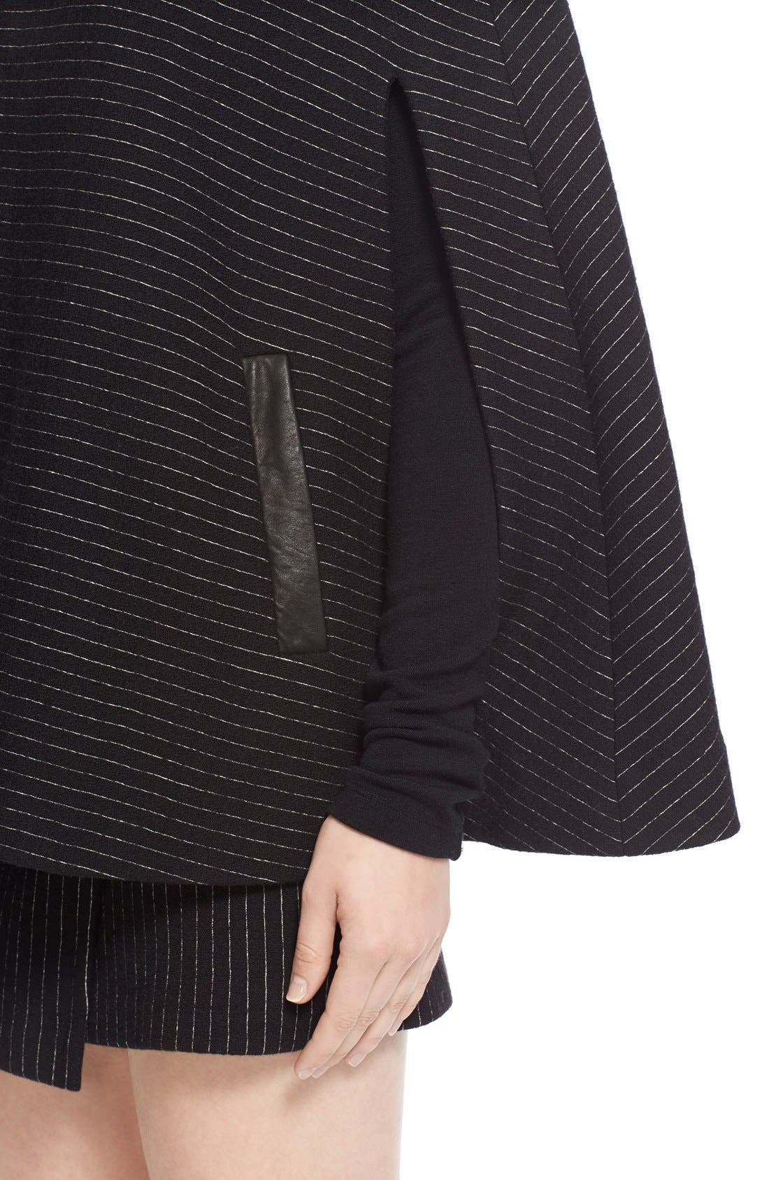 Alternate Image 4  - Alice + Olivia 'Kingsley' Pinstripe Wool Cape Coat