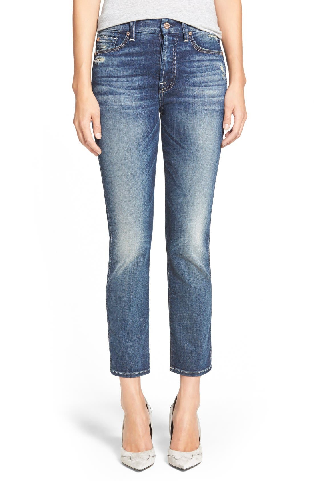 Main Image - 7 For All Mankind® Crop Straight Leg Jeans (Icelandic Blue)
