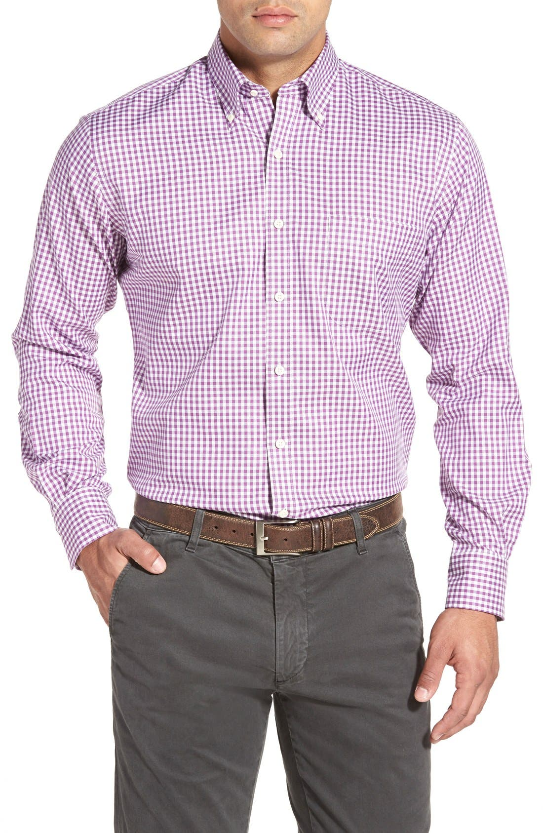 'Nanoluxe' Regular Fit Wrinkle Resistant Twill Check Sport Shirt,                         Main,                         color, Purple