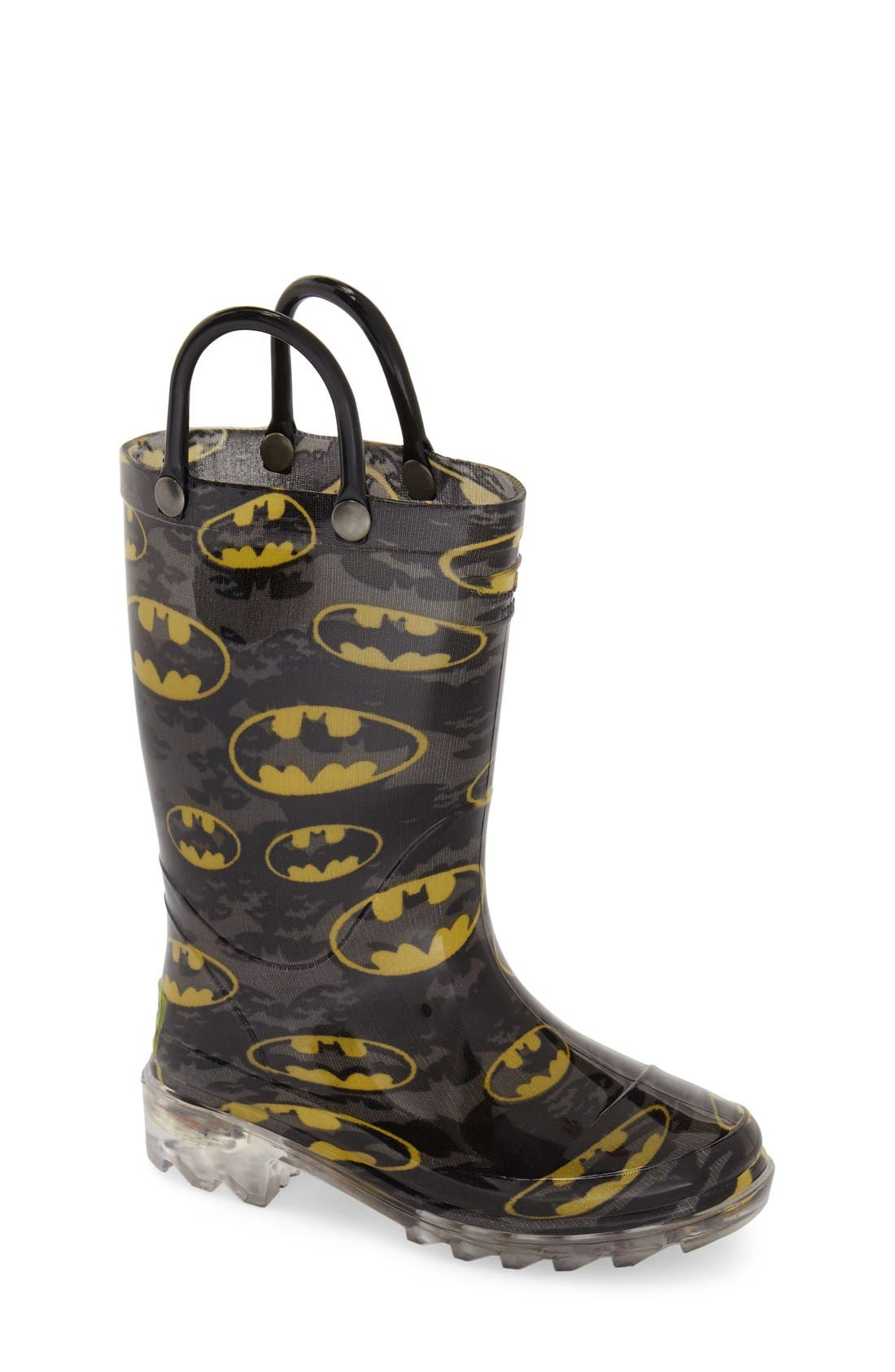 'Batman Signal' Light-Up Rain Boot,                             Main thumbnail 1, color,                             Black