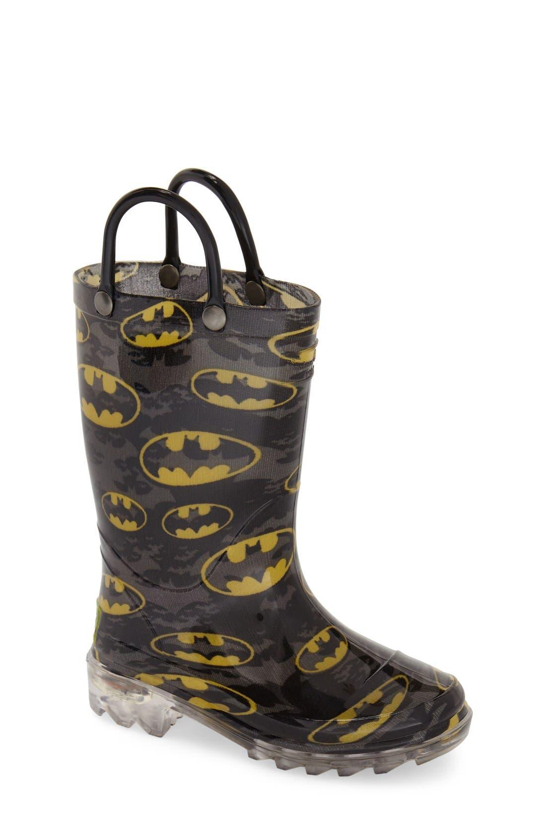 'Batman Signal' Light-Up Rain Boot,                         Main,                         color, Black