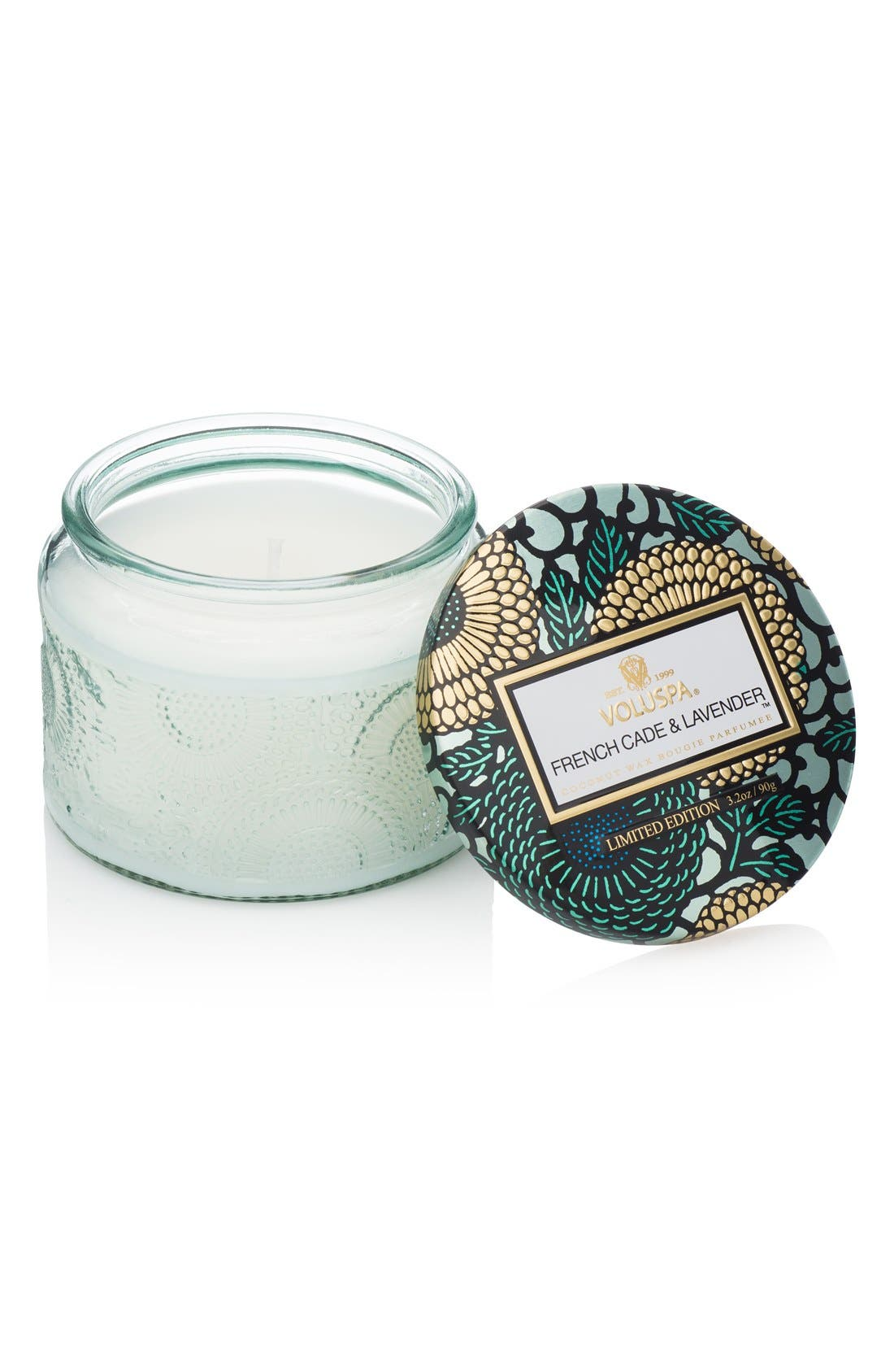 Japonica French Cade Lavender Petite Embossed Glass Jar Candle,                         Main,                         color, No Color