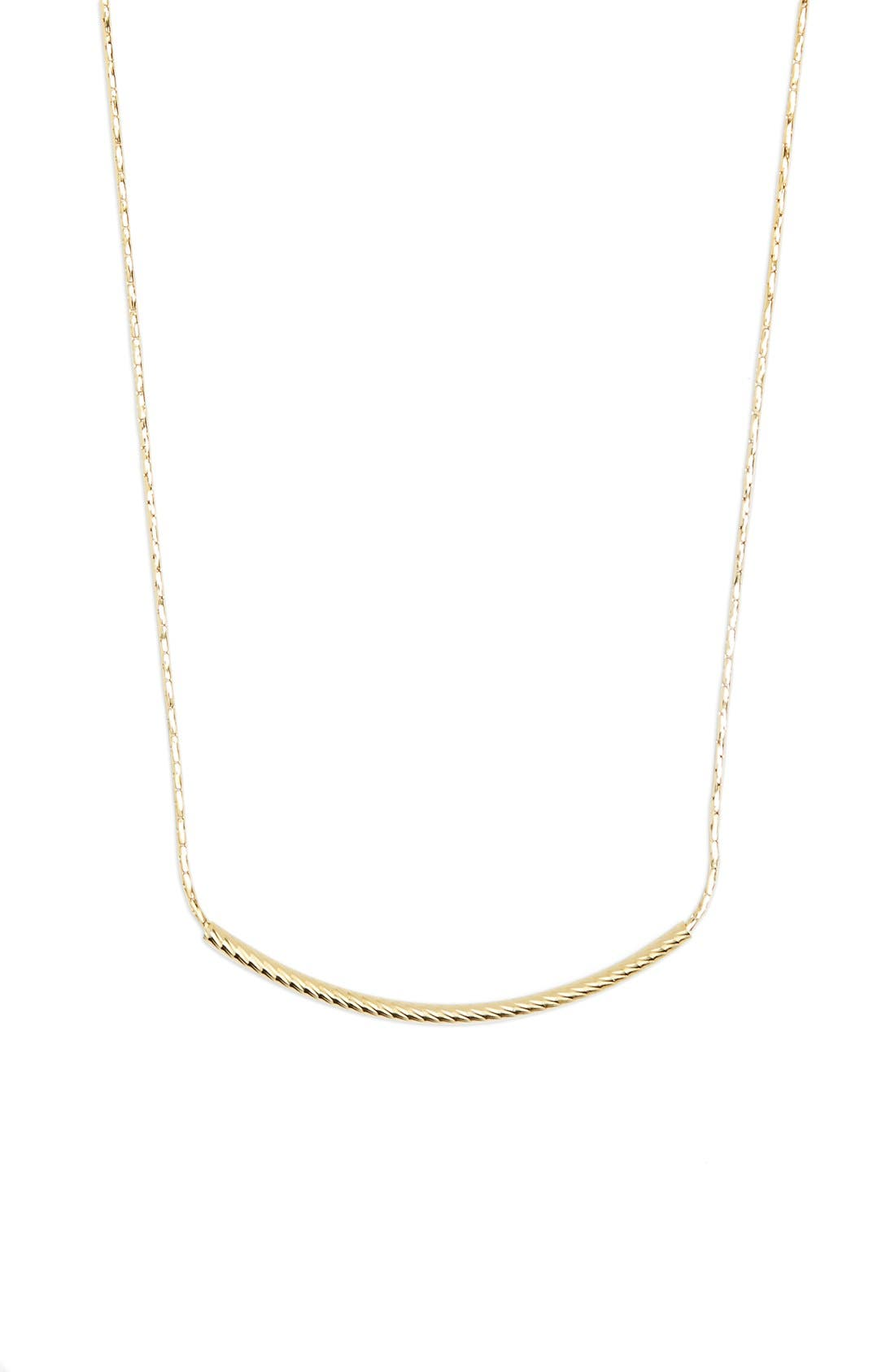 14kGold Curved Bar Necklace,                         Main,                         color, Yellow Gold
