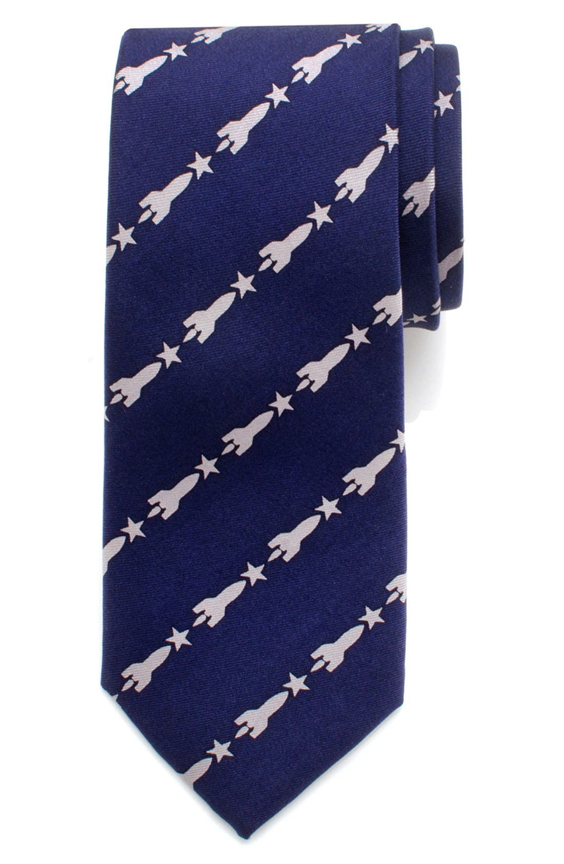 'Rockets & Stars' Silk Tie,                         Main,                         color, Blue