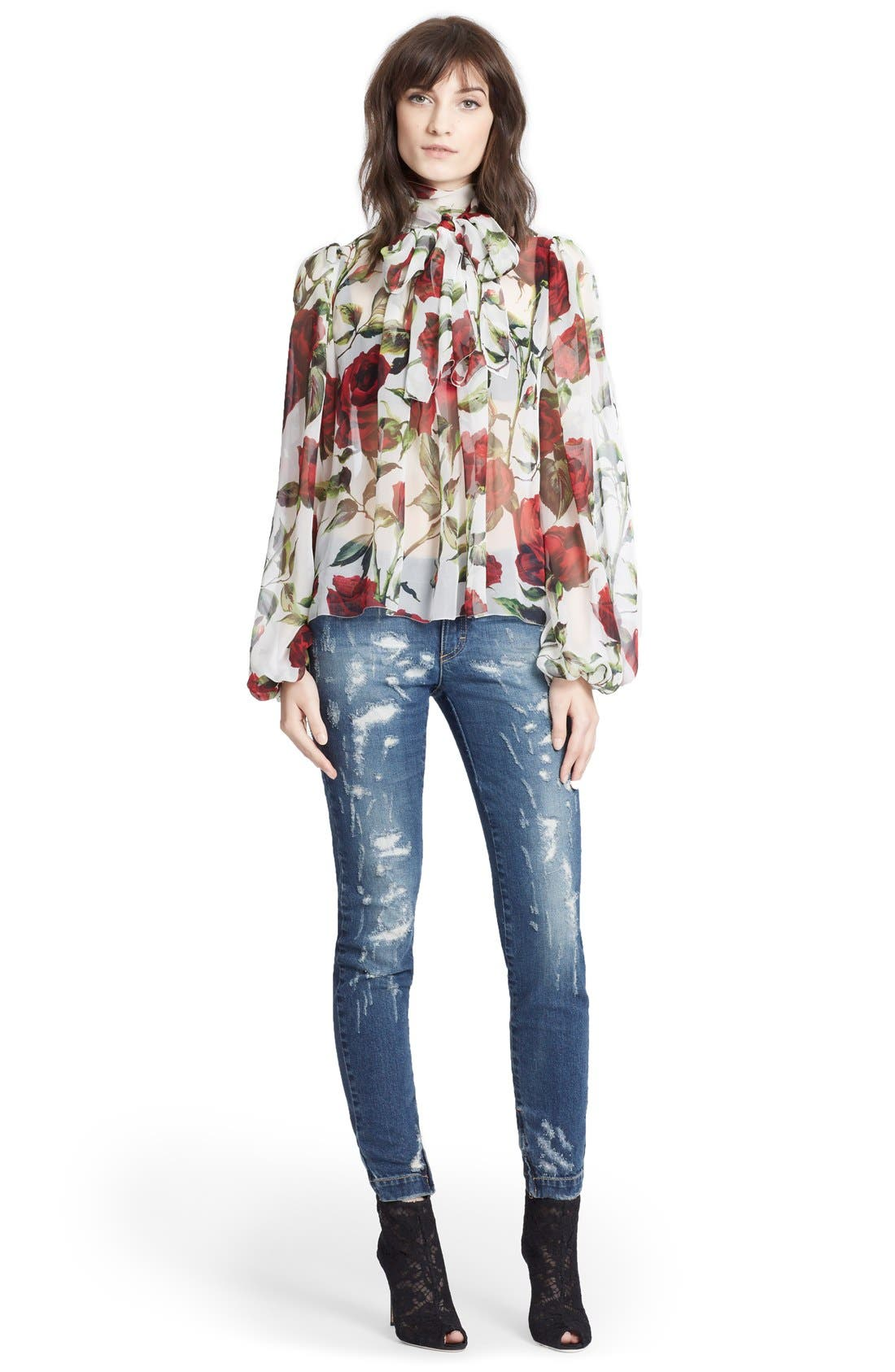Alternate Image 4  - Dolce&Gabbana Tie Neck Rose Print Chiffon Blouse