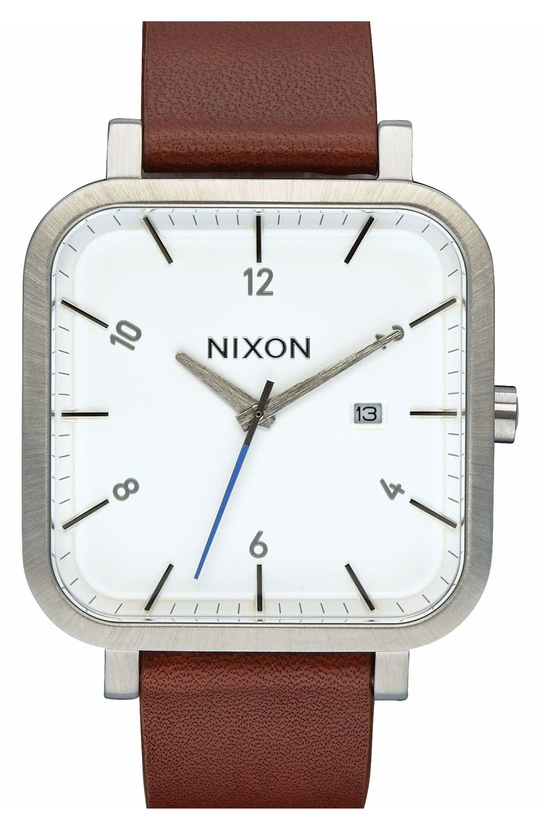 Nixon 'Ragnar' Leather Strap Watch, 40mm