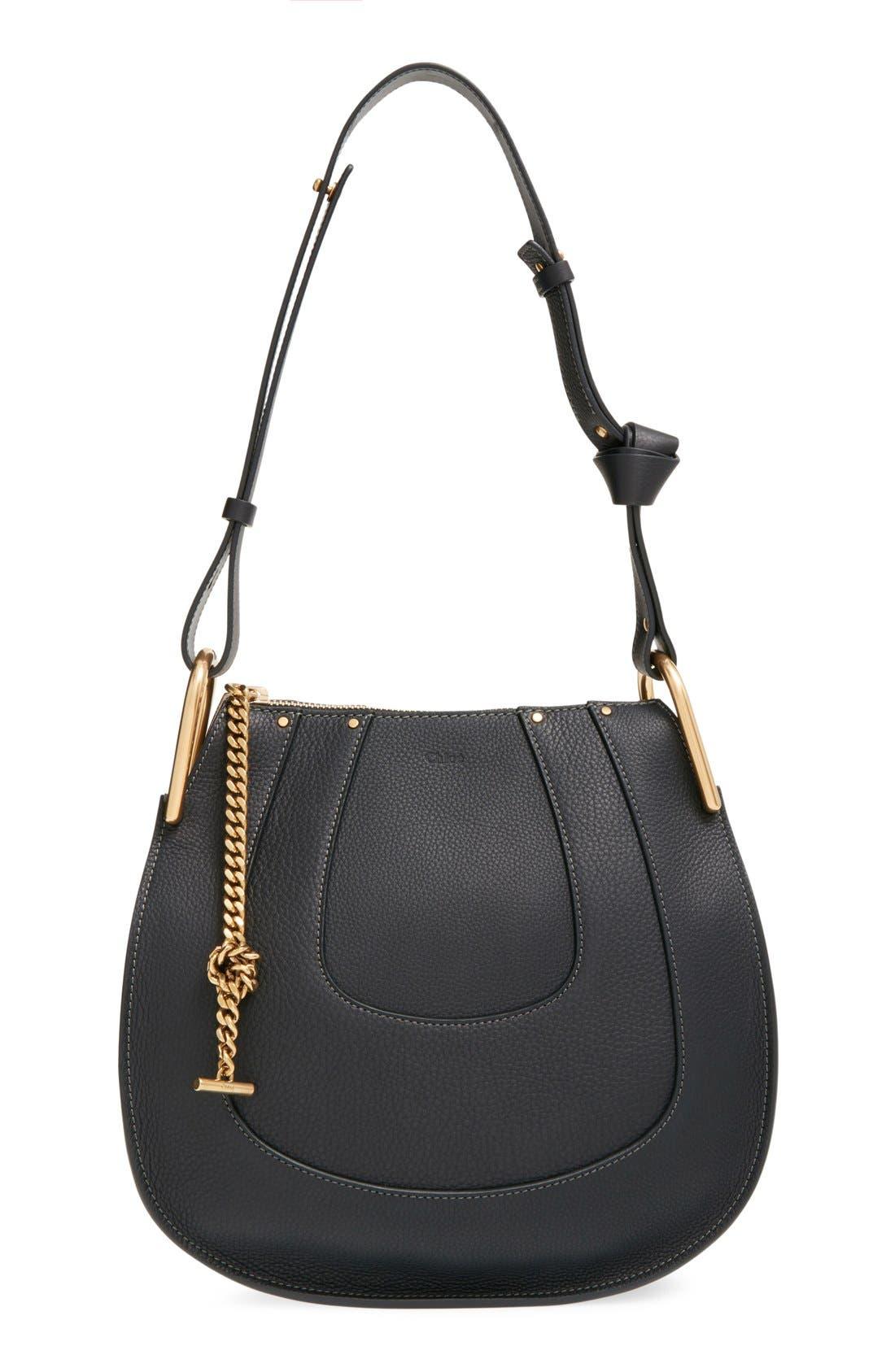 'Small Hayley' Leather Hobo Bag,                             Main thumbnail 1, color,                             Black