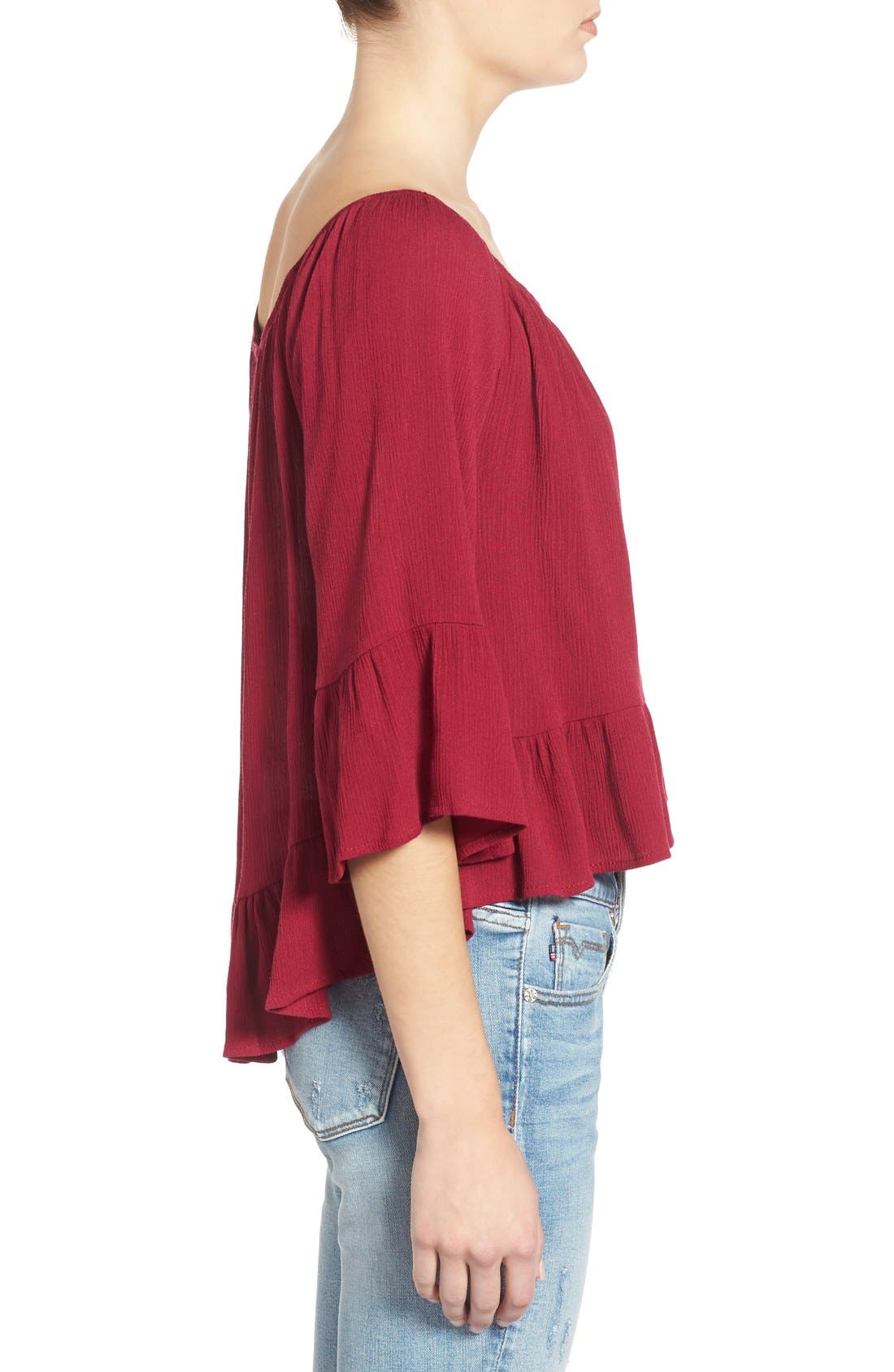 Alternate Image 3  - Living Doll Bell Sleeve High/Low Peasant Top (Juniors)