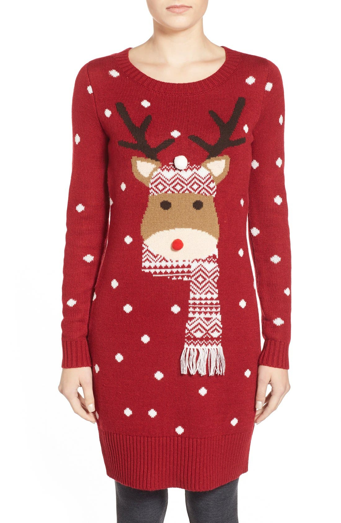 Love By Design Reindeer Fair Isle Tunic Sweater | Nordstrom