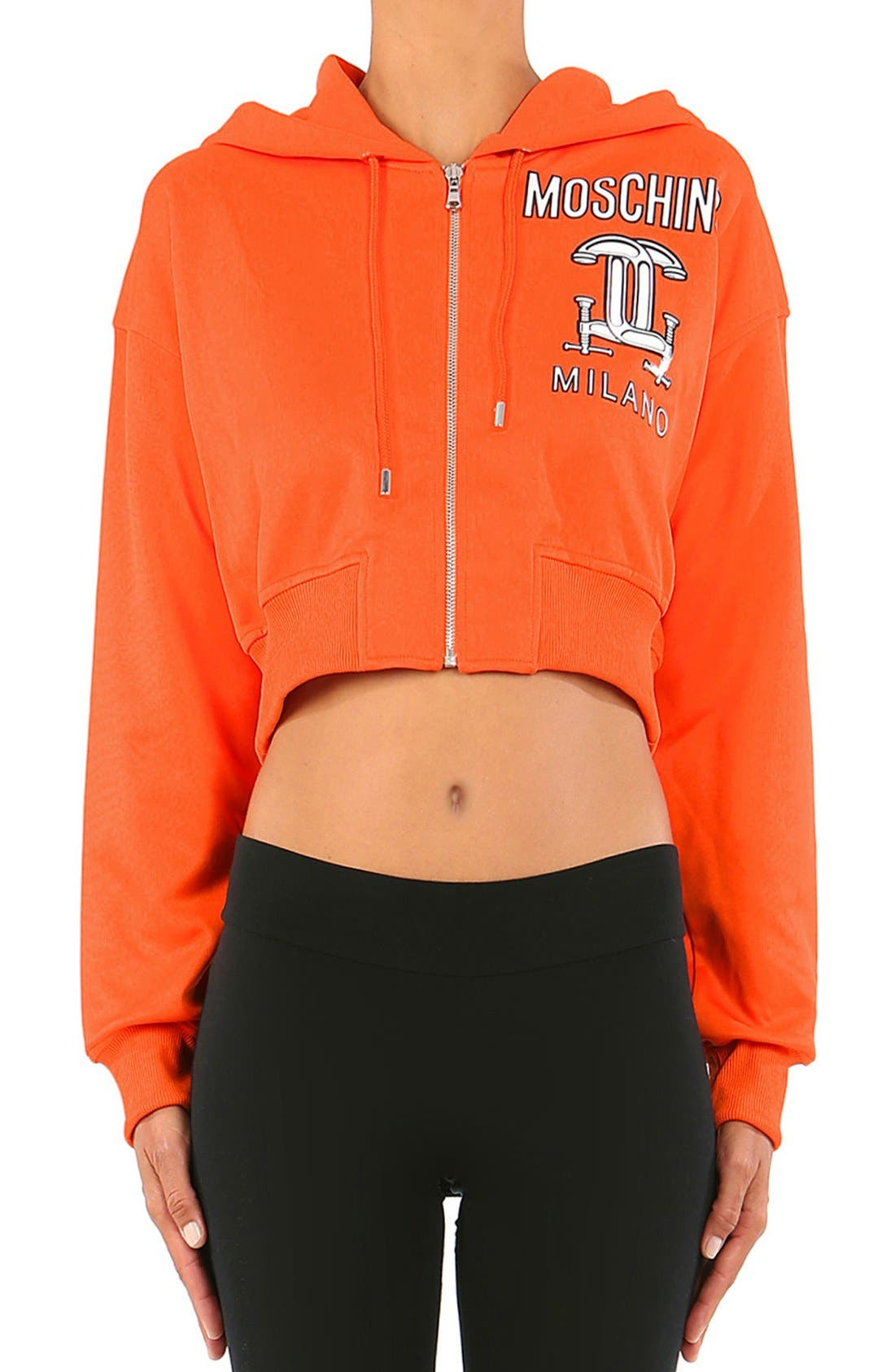 Moschino '2nd Story' Hooded GraphicCrop Sweatshirt
