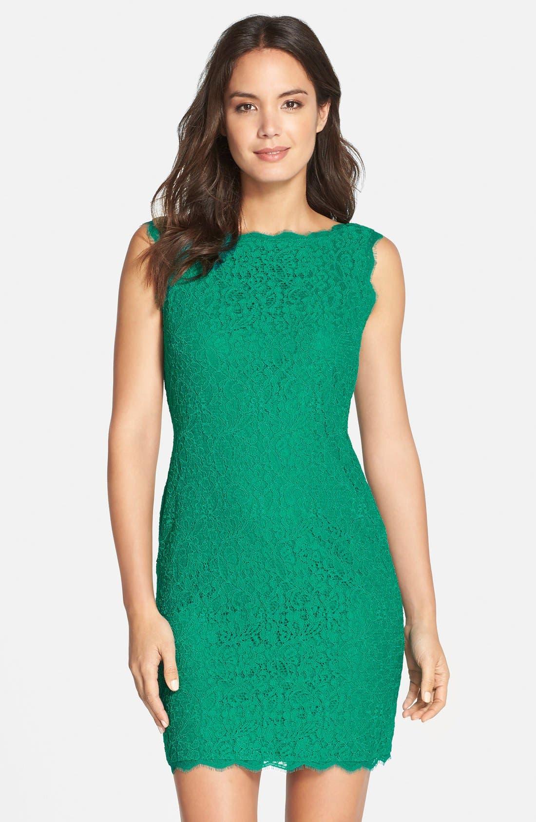Alternate Image 1 Selected - Adrianna Papell Boatneck Lace Sheath Dress (Regular & Petite)